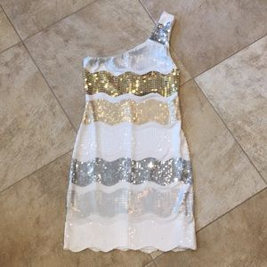 One strap sequin dress